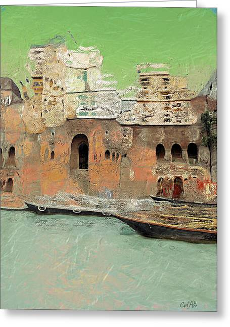 Holy Vessels Greeting Cards - Ganges River Bank Greeting Card by Carl Rolfe