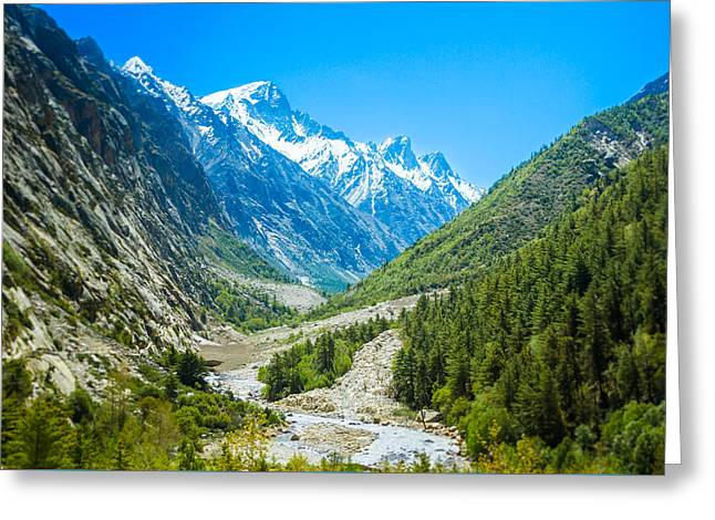 River View Greeting Cards - Ganges River Valley Greeting Card by Nila Newsom