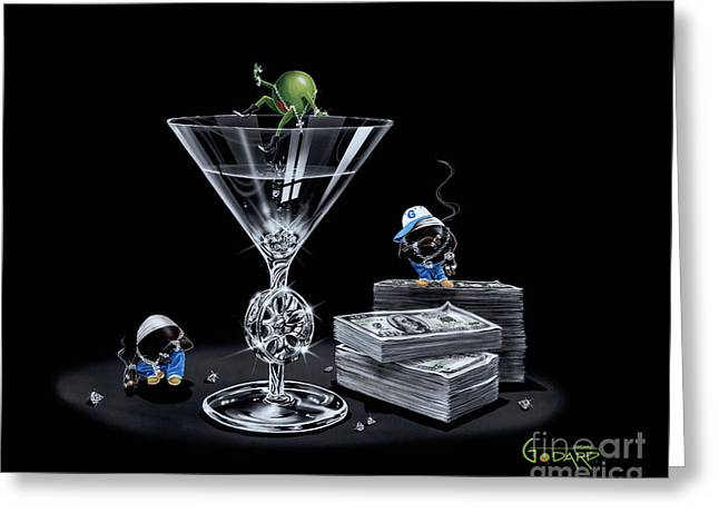 Franklin Greeting Cards - Gangsta Martini Livin Large Greeting Card by Michael Godard