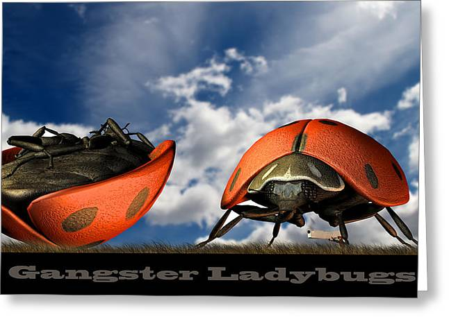 Insect Digital Art Greeting Cards - Gangster Ladybugs Nature Gone Mad Greeting Card by Bob Orsillo