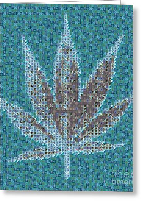 Ganja Greeting Cards - Ganja in Blue Greeting Card by Sara Sutton