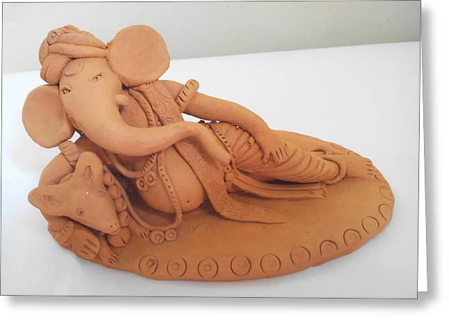 Rest Sculptures Greeting Cards - Ganpati with mouse Greeting Card by Milind Raskar