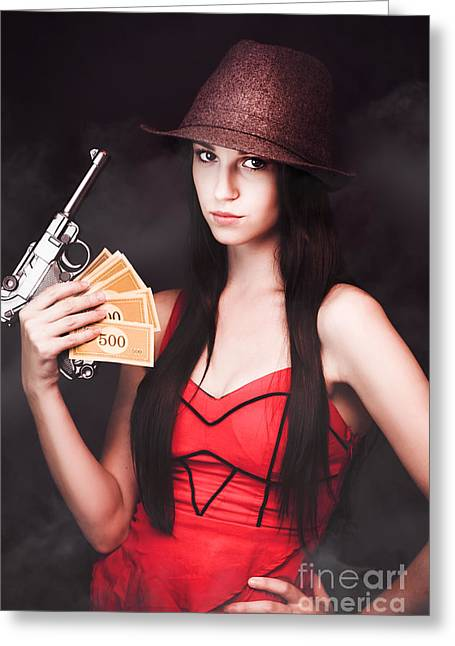 Payoff Greeting Cards - Ganster And Her Gun Greeting Card by Ryan Jorgensen