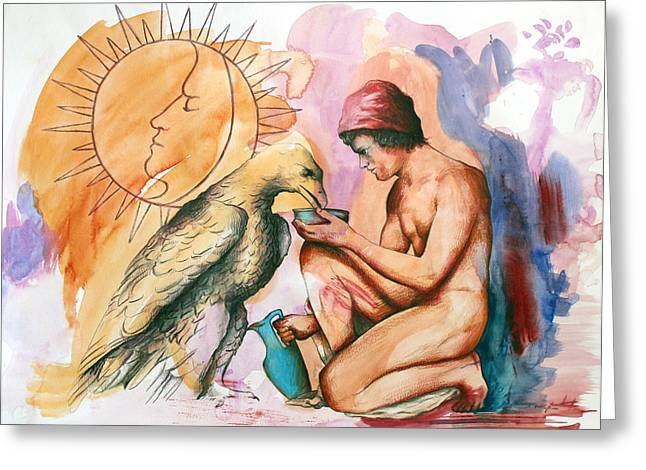 Homo Paintings Greeting Cards - Ganymede and Zeus Greeting Card by Rene Capone