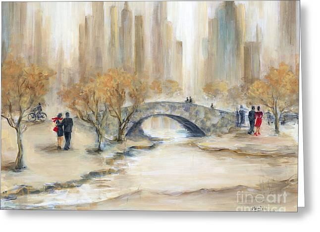 Gapstow Bridge And Lovers Greeting Card by Marilyn Dunlap