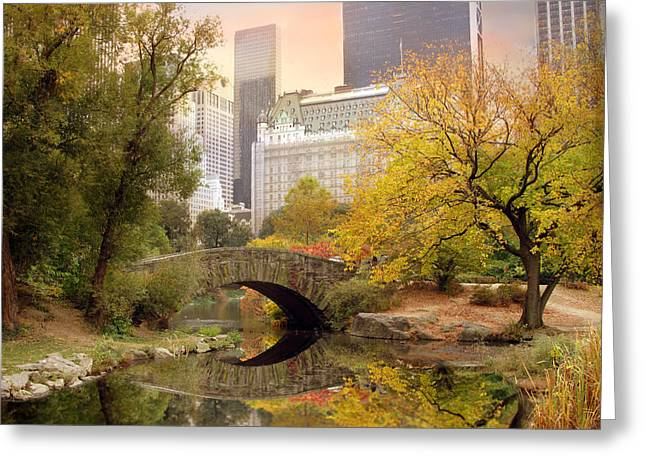 Bridge Greeting Cards - Gapstow Bridge Reflections Greeting Card by Jessica Jenney