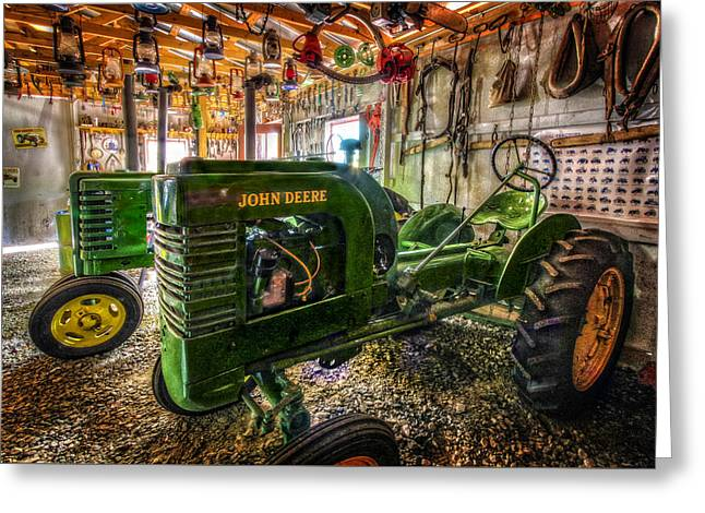 Main Street Greeting Cards - Garage Full of Deere Greeting Card by Debra and Dave Vanderlaan
