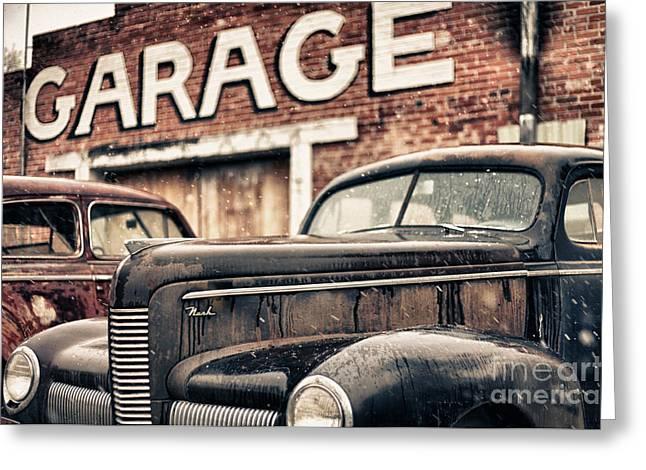 Nascar Digital Greeting Cards - Garage Greeting Card by Jeremy Holmes