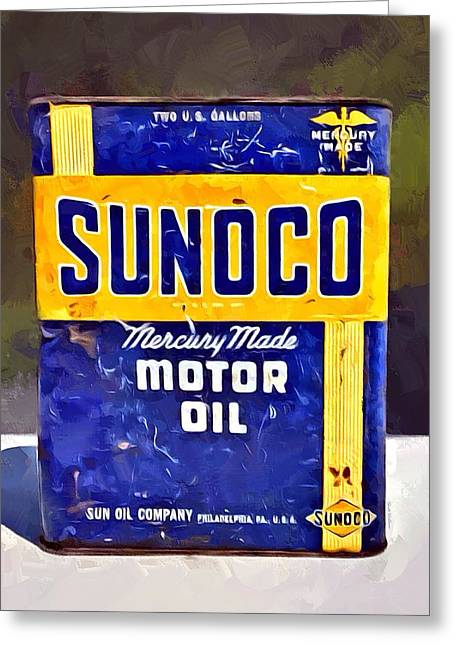 Garage Oil 6 Sunoco Greeting Card by Scott Wallace
