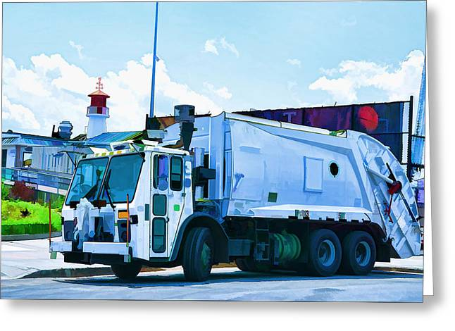 Garbage Truck In New York City  Greeting Card by Lanjee Chee