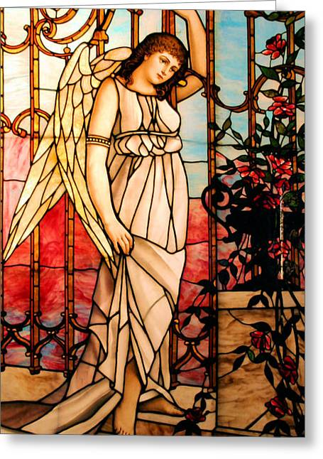 Heavens Gate Greeting Cards - Garden Angel Greeting Card by Kristin Elmquist