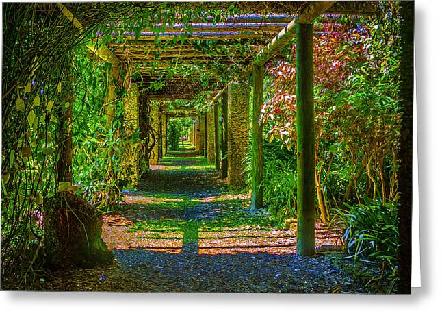 Mystical Landscape Greeting Cards - Garden Arbor Greeting Card by Lew Lautin