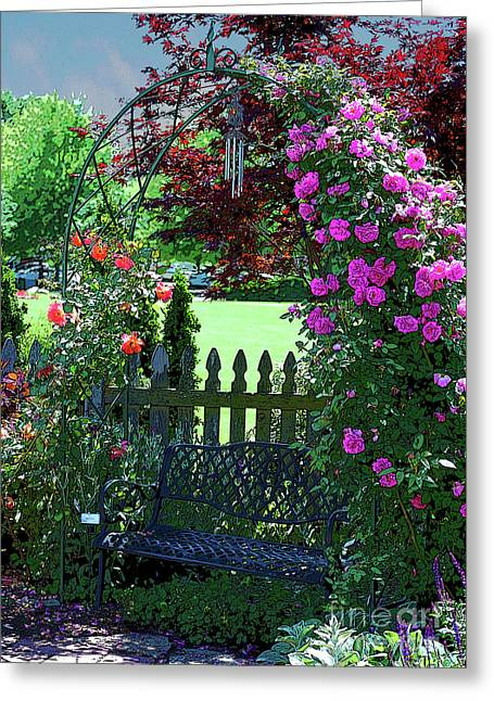 Garden Bench And Trellis Greeting Card by Nancy Mueller