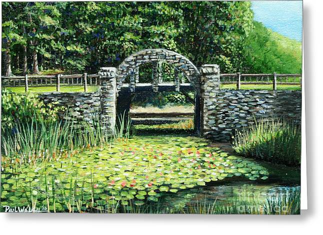 Wood Castle Greeting Cards - Garden Bridge Greeting Card by Paul Walsh