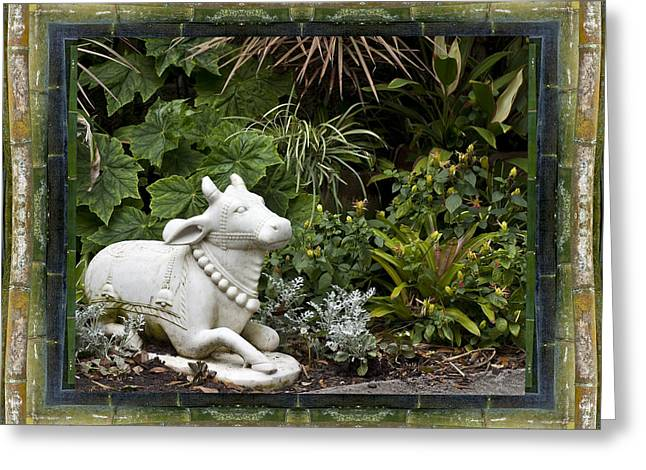 Garden Mandala Greeting Cards - Garden Bull Greeting Card by Bell And Todd