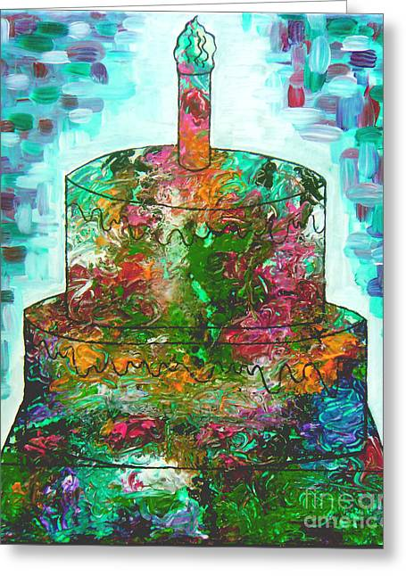 Recently Sold -  - Abstract Expression Greeting Cards - Garden Cake Greeting Card by Genevieve Esson