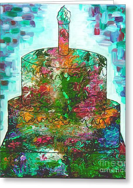 Birthday Cake Greeting Cards - Garden Cake Greeting Card by Genevieve Esson