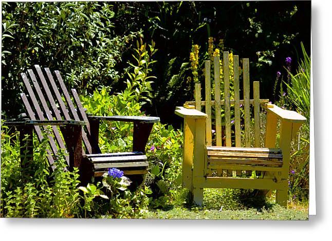 Adirondak Chair Greeting Cards - Garden Chairs Greeting Card by Lori Seaman