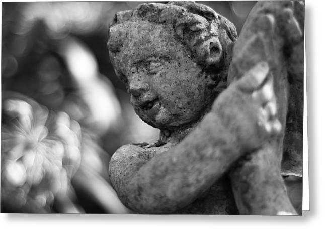 Best Sellers -  - Garden Statuary Greeting Cards - Garden Cherub Greeting Card by Rich Leighton