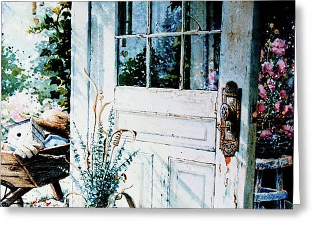 Garden Chores Greeting Card by Hanne Lore Koehler