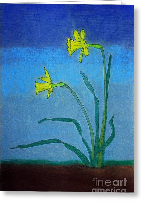Appleton Art Greeting Cards - Garden Daffodils Greeting Card by Norma Appleton