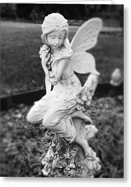 Garden Statuary Greeting Cards - Garden Fairie Greeting Card by Nicole Borzotra
