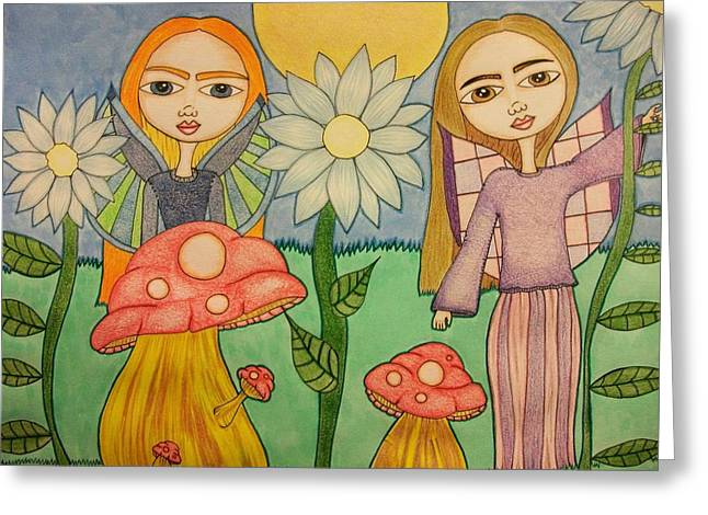 Garden Fairies Greeting Card by Alicia Schroeder