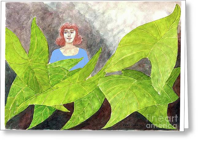 Garden Scene Mixed Media Greeting Cards - Garden Fantasy  Greeting Card by Fred Jinkins