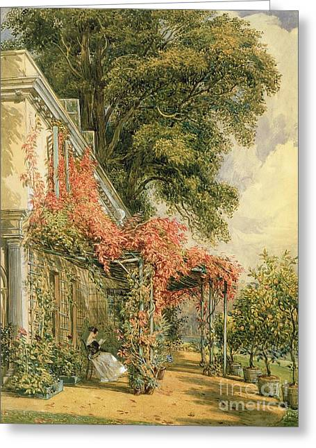 Park Scene Greeting Cards - Garden Front of Mr Robert Vernons House at Twickenham Greeting Card by John James Chalon