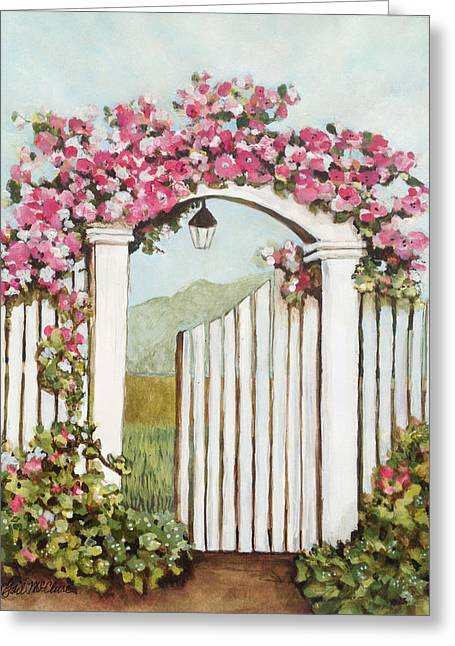 Entryway Drawings Greeting Cards - Garden Gate 4 Greeting Card by Gail McClure