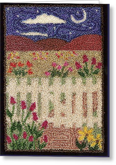 Primitive Tapestries - Textiles Greeting Cards - Garden Gate Greeting Card by Jan Schlieper