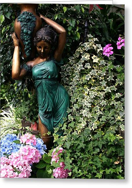 Garden Statuary Greeting Cards - Garden Goddess Greeting Card by Kristin Elmquist