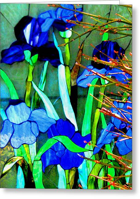 Stainglass Greeting Cards - Garden Grows Greeting Card by Allen n Lehman