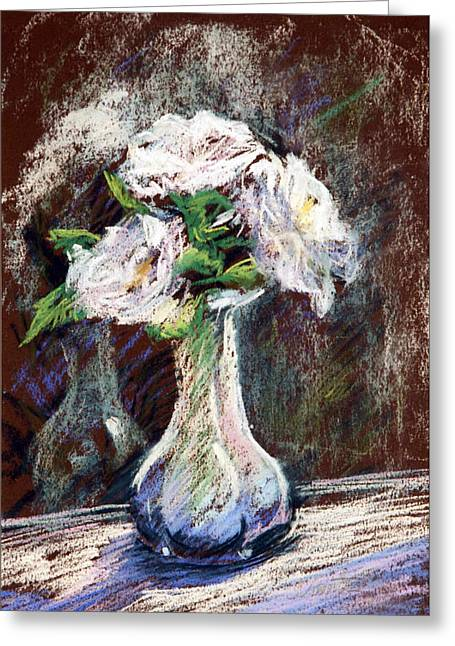 Floral Still Life Greeting Cards - Garden Icebergs Pastel Greeting Card by Athena  Mantle