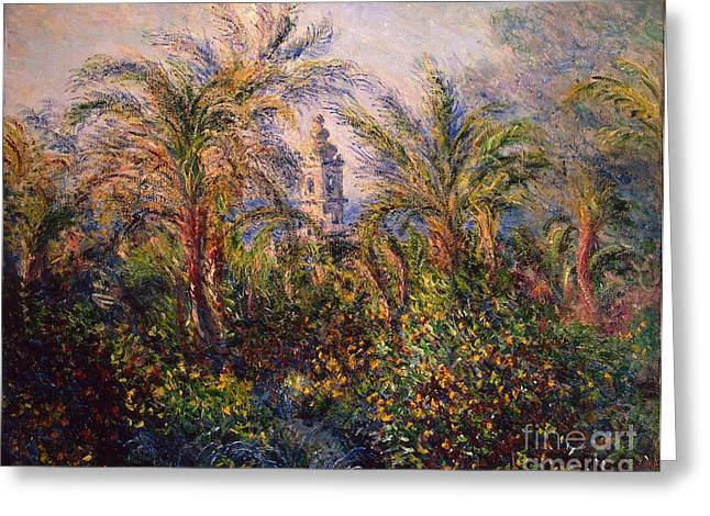 Bell Tower Greeting Cards - Garden in Bordighera Impression of Morning Greeting Card by Claude Monet