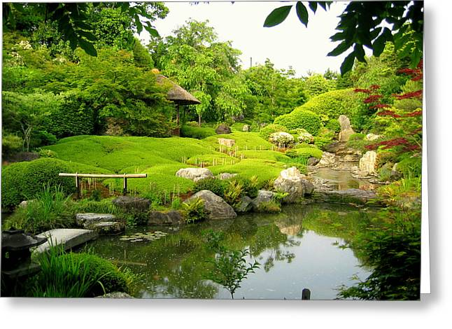 Kyoto Greeting Cards - Garden In Kyoto Greeting Card by Keiko Richter