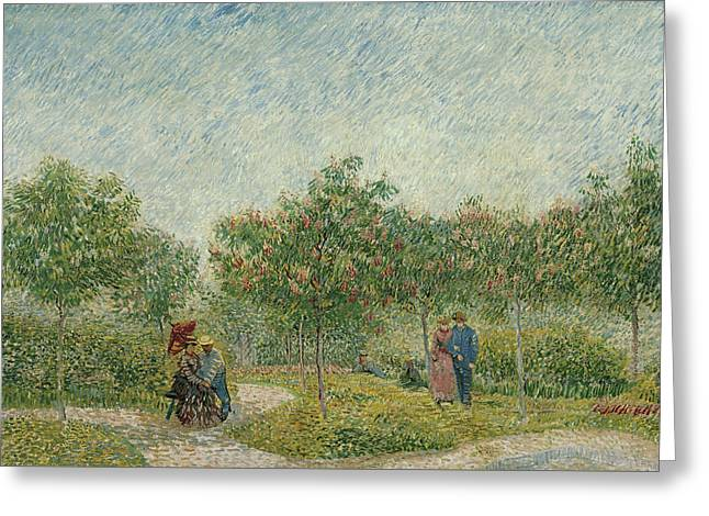Sky Lovers Art Greeting Cards - Garden in Montmarte with lovers Greeting Card by Vincent van Gogh