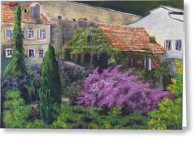 Garden Scene Pastels Greeting Cards - Garden in Spain  Greeting Card by Lani Whitley