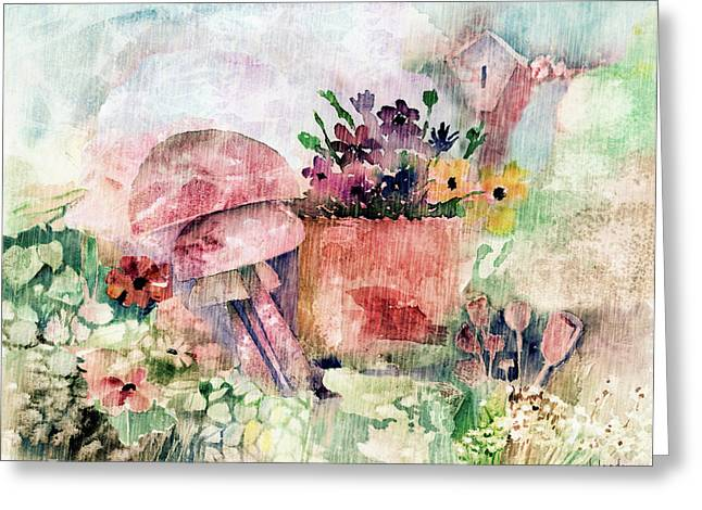 Negative Mixed Media Greeting Cards - Garden In The Rain Greeting Card by Arline Wagner