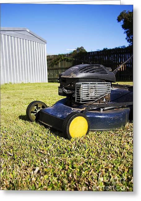 Yardwork Greeting Cards - Garden Mower Greeting Card by Ryan Jorgensen