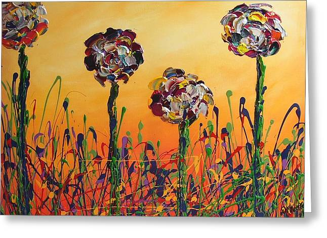 Van Gogh Influence Greeting Cards - Garden of Delight I Floral Painting Greeting Card by Darlene Keeffe