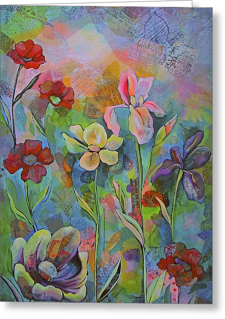 Garden Of Intention - Triptych Center Panel Greeting Card by Shadia Zayed