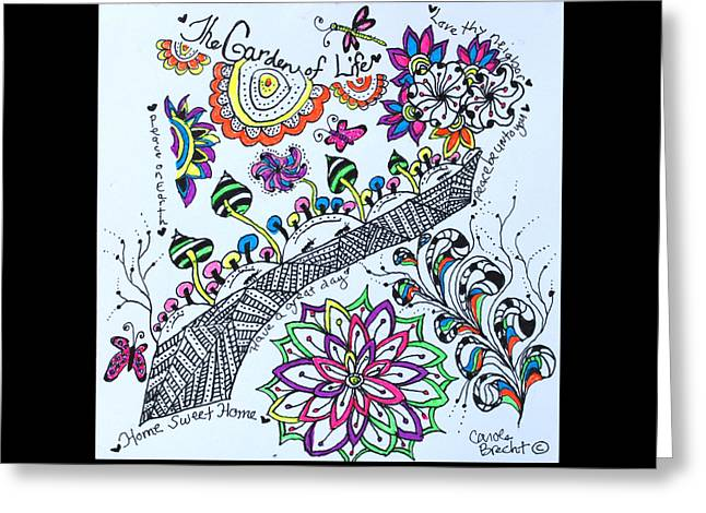 Pen And Ink Drawing Greeting Cards - Garden Of Life Greeting Card by The Sandwich  Woman