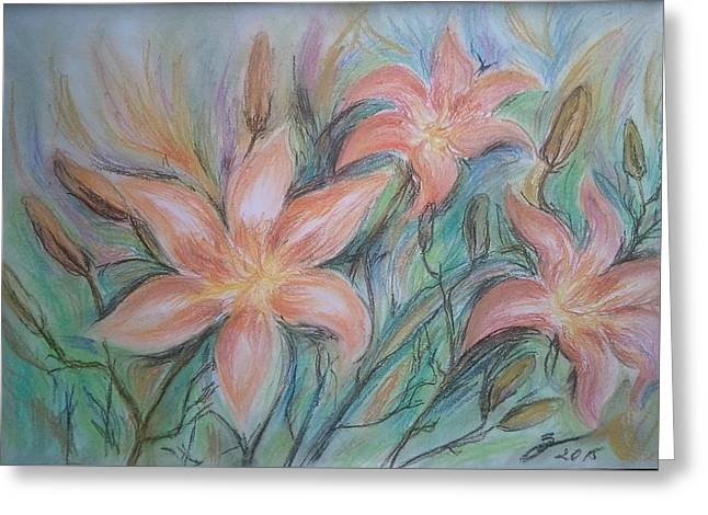 Salmon Pastels Greeting Cards - Garden of lilies-Lilium firecracker Greeting Card by Rusescu Sinziana