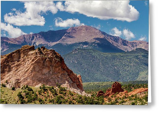 Garden Of The Gods And Pikes Peak Greeting Card by Bill Gallagher