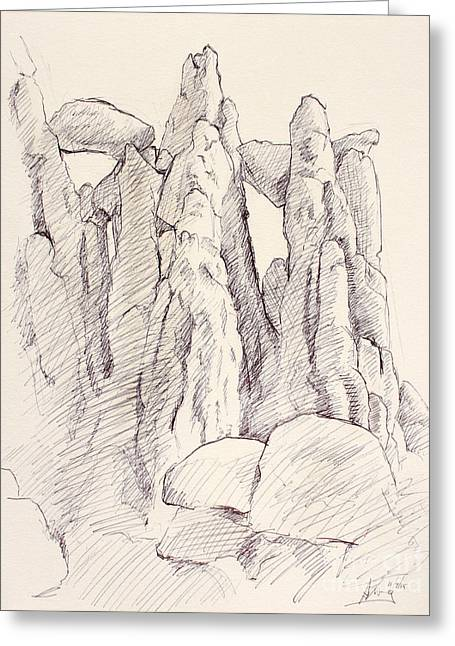 Garden Of The Gods Pulpit Rock Ink On Toned Paper  Greeting Card by Adam Long