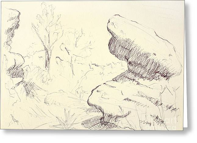 Garden Of The Gods Rocks Along The Trail Ink Drawing On Toned Pa Greeting Card by Adam Long