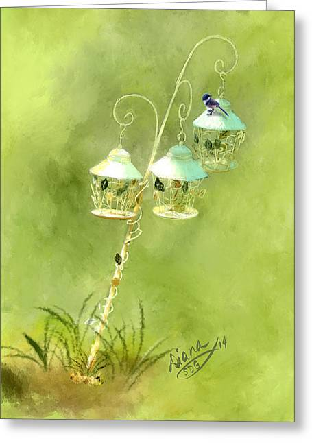 Hanging Planter Greeting Cards - Garden Ornament Greeting Card by Diana Ralph