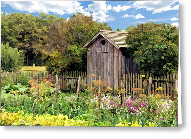 Bygone Greeting Cards - Garden Outhouse at Old World Wisconsin Greeting Card by Christopher Arndt