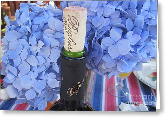 Red Wine Bottle Greeting Cards - Garden Party Greeting Card by Deborah A Andreas